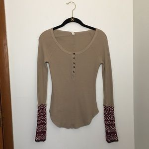 Free People Alpine Cuff Thermal Waffle Henley